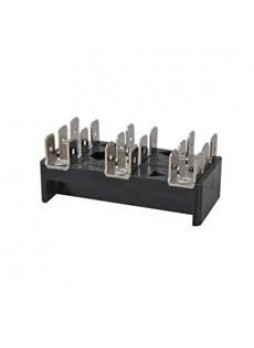 3 x 6-Way Bus Bar with 6.3mm Common Plated Brass Blade Terminals - 25A