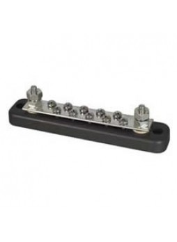 """10-Screw Tin-Plated Copper Bus Bar with 2 x 3/16"""" UNF Studs - 150A"""
