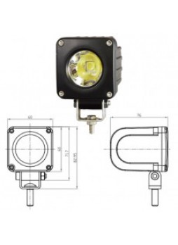 1 x 25W CREE LED Square Work Lamp - Black, 9-36V 1700lm, Ip68