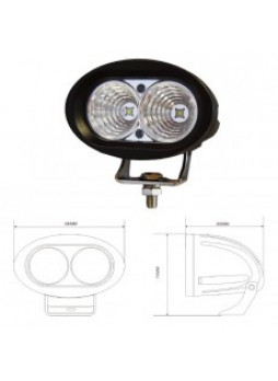2 x 10W LED Work Lamp - Black, 10-60V 2000lm, IP67
