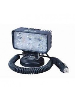 6 x 3W LED Work Lamp with Magnetic Base and 450mm Flying Lead - Black, 12/24V, IP67