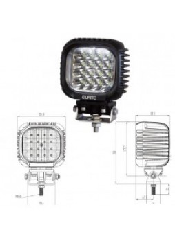 16 x 3W CREE LED Work Lamp - Black, 10-30V 3800lm, IP67