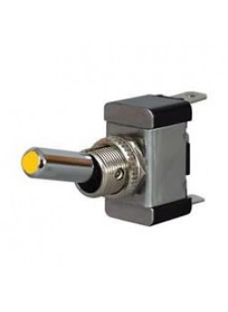Amber LED On/Off Toggle Switch with Metal Lever- 12/24V