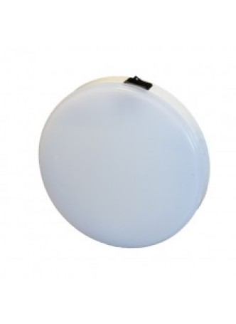 117 White LED Round White Roof Lamp with Switch - 340lm, 12/24V