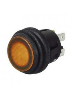 Amber LED Push/Push On/Off Switch - 12/24V