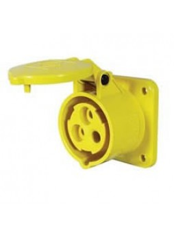 16A 110V Yellow Panel-Mounted Socket